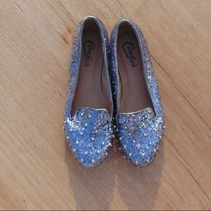 Spiked Sliver Glitter Candies Flat size 7